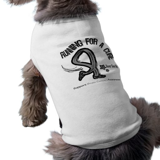 Running For A Cure Brain Cancer Doggie Tee Shirt