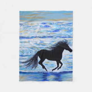 Running Free by the Sea 2 Fleece Blanket