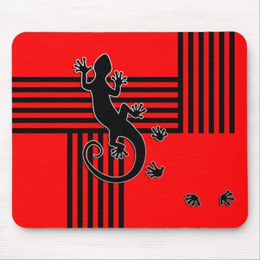 Running Gecko - black & red stripes abstract Mousepads