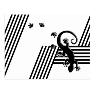 Running Gecko - black & white stripes abstract2 Post Card