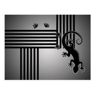 Running Gecko - black & white stripes shine Postcards