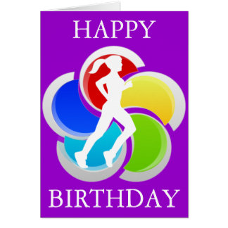 Running Girl Happy Birthday Greeting Card