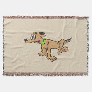 Running Happy Dog Throw Blanket