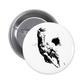 Running Horse 6 Cm Round Badge
