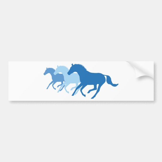 Running Horse (Blue) Bumper Sticker