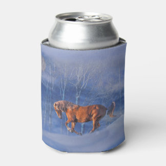 Running Horse in the Snow Can Cooler
