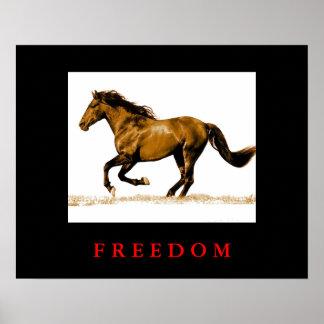 Running Horse Motivational Freedom Poster