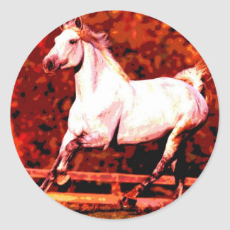 Running Horse Round Stickers