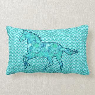 Running Horse Silhouette, Turquoise and Aqua Lumbar Cushion