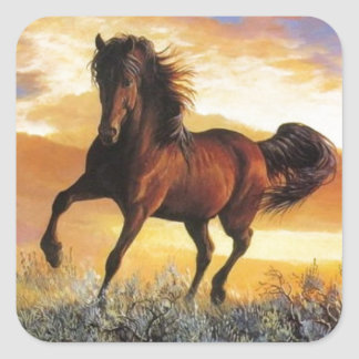Running Horse Square Sticker