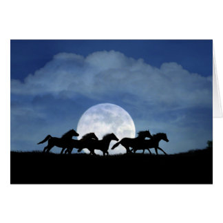 Running Horses and Moon Birthday Card