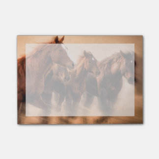 Running horses, blur and flying manes post-it notes