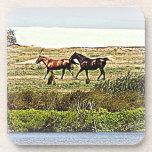 Running Horses Cork Coasters