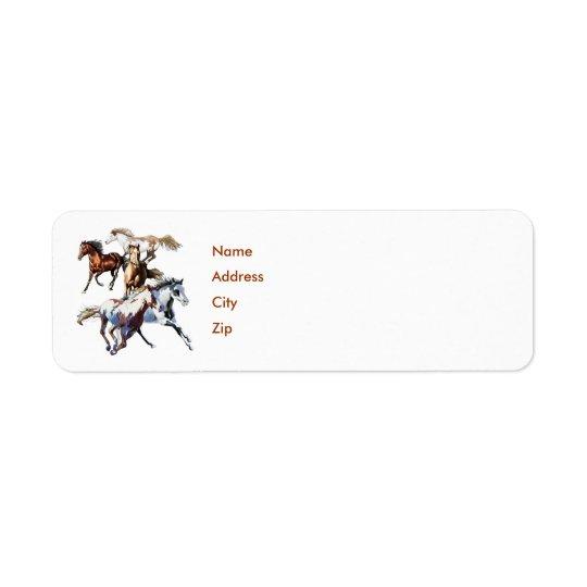 Running Horses, Name, Address, City, Zip Return Address Label
