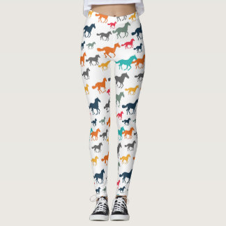 Running Horses Pattern - Turquoise Orange Gray Yel Leggings
