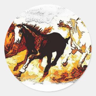 Running Horses Round Stickers