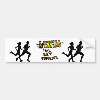 RUNNING IS MY DRUG - CROSS COUNTRY BUMPER STICKER