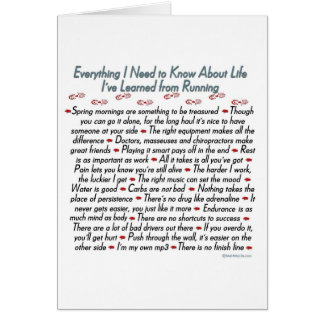 Running Life Lessons Good Luck Greeting Card