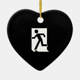 Running Man Emergency Fire Exit Sign Ceramic Heart Decoration
