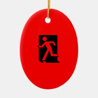 Running Man Emergency Fire Exit Sign Ceramic Oval Decoration
