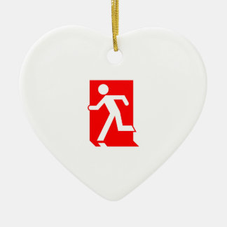 Running Man Emergency Fire Exit Sign Christmas Ornament