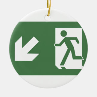 Running Man Emergency Fire Exit Sign Round Ceramic Decoration