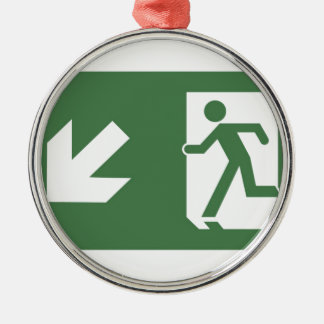Running Man Emergency Fire Exit Sign Silver-Colored Round Decoration
