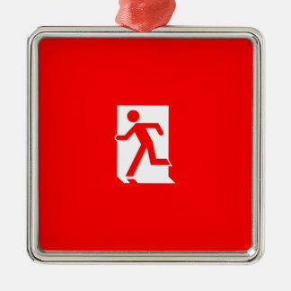 Running Man Emergency Fire Exit Sign Silver-Colored Square Decoration
