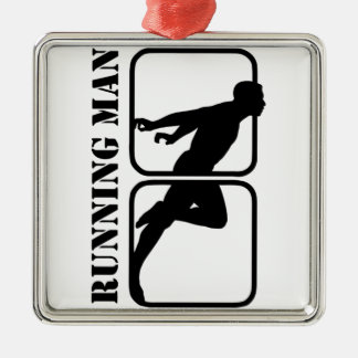 Running Man jogging sports motif  1 Silver-Colored Square Decoration