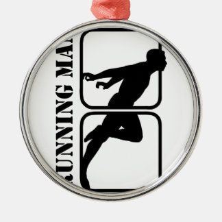 Running Man jogging sports motif  1 Silver-Colored Round Decoration