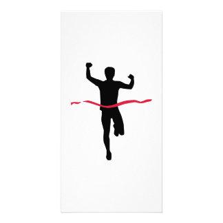 Running marathon winner champion customized photo card