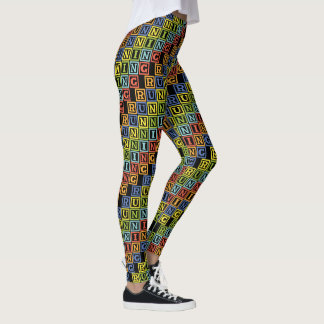 Running multicolored letters cool athleisure leggings