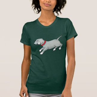 Running Pitbull Dog with Bone - T-shirt