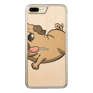 running pug cartoon carved iPhone 8 plus/7 plus case