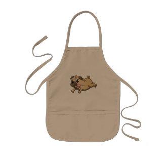 running pug cartoon kids apron