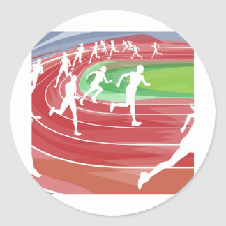 Running Race on Track Round Stickers