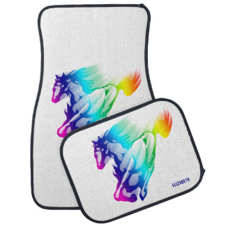 Running Rainbow Horse With Motion Trail Car Mat