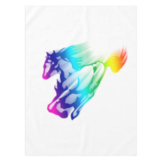 Running Rainbow Horse With Motion Trail Tablecloth