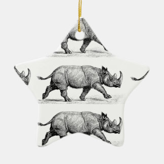 Running Rhinos art Christmas Ornament
