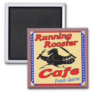 Running Rooster Cafe S Square Magnet