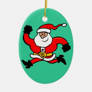 Running Santa Claus Christmas Ornament