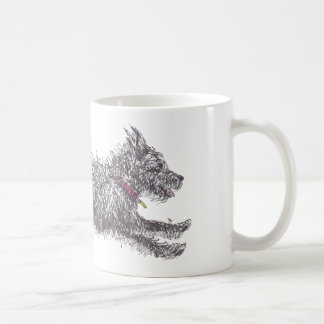 Running Scruffy Black Terrier Mug (Right Handed)