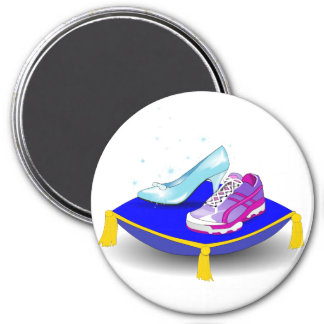 Running shoe and princess glass slipper on pillow magnet