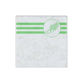 Running Shoe Stripes (Green) Stone Magnet