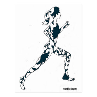 Running Silhouette - Floral Postcards