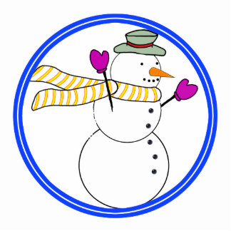 Running Snowman w/Scarf in the Wind Photo Cutout