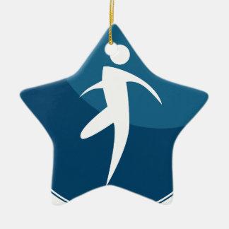 Running Stick Figure Man Button Ceramic Star Decoration