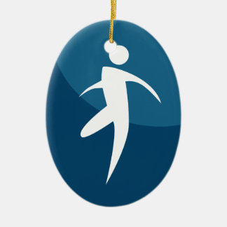 Running Stick Figure Man Button Double-Sided Oval Ceramic Christmas Ornament