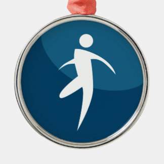 Running Stick Figure Man Button Silver-Colored Round Decoration