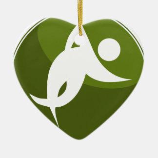 Running Stick Figure Race Man Green Button Ceramic Heart Decoration
